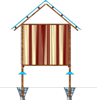 Slatted floor house for 50 layers - side view